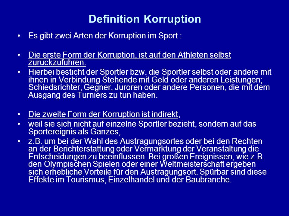 Definition Korruption