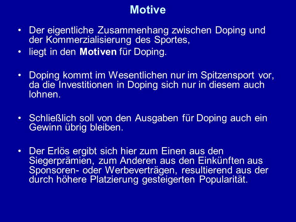 Motive Der eigentliche Zusammenhang zwischen Doping und der Kommerzialisierung des Sportes, liegt in den Motiven für Doping.