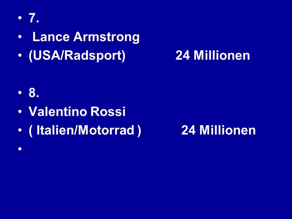 7. Lance Armstrong. (USA/Radsport) 24 Millionen 8. Valentino Rossi. ( Italien/Motorrad ) 24 Millionen
