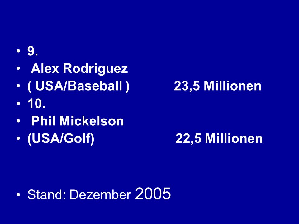 9. Alex Rodriguez. ( USA/Baseball ) 23,5 Millionen 10. Phil Mickelson. (USA/Golf) 22,5 Millionen