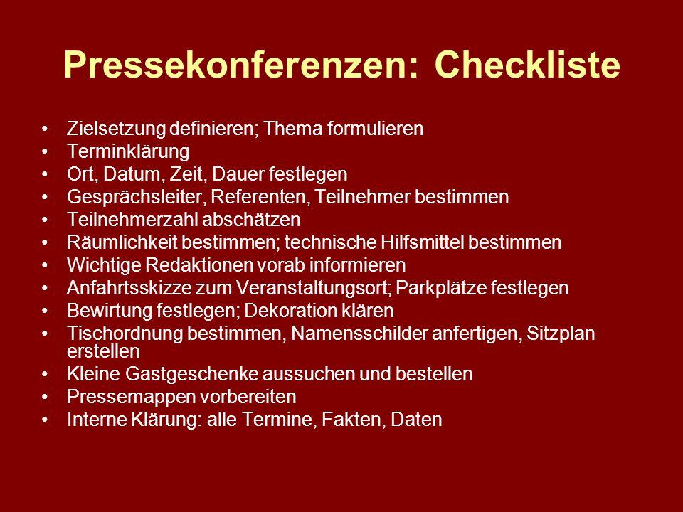 Pressekonferenzen: Checkliste