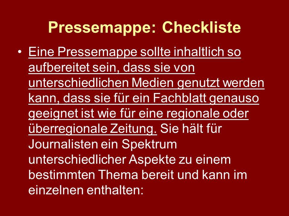Pressemappe: Checkliste