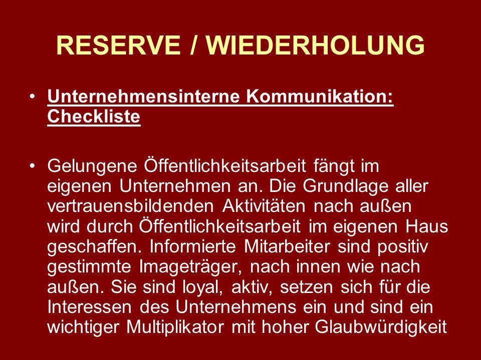 RESERVE / WIEDERHOLUNG