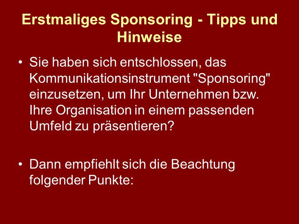 Erstmaliges Sponsoring - Tipps und Hinweise