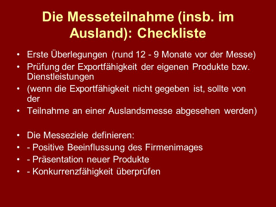 Die Messeteilnahme (insb. im Ausland): Checkliste