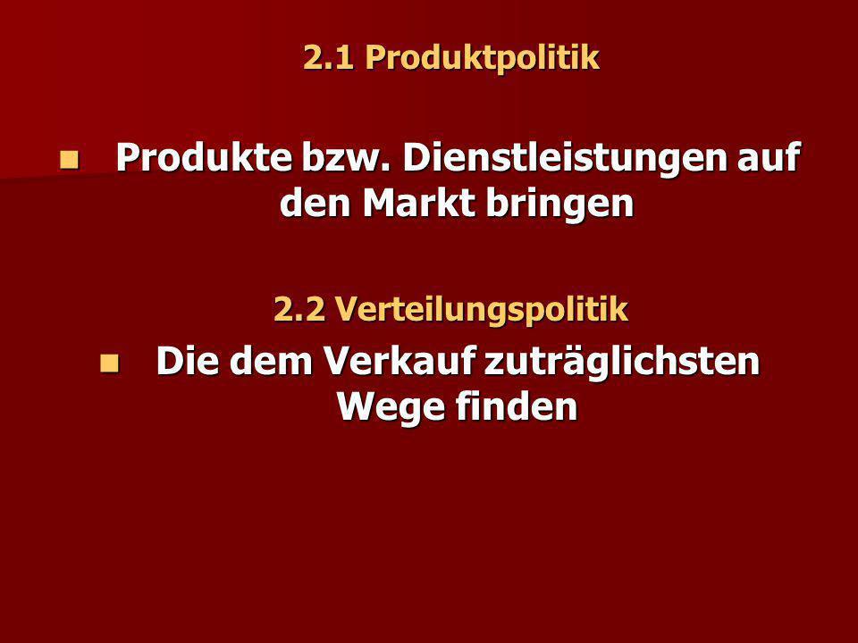 Produkte bzw. Dienstleistungen auf den Markt bringen