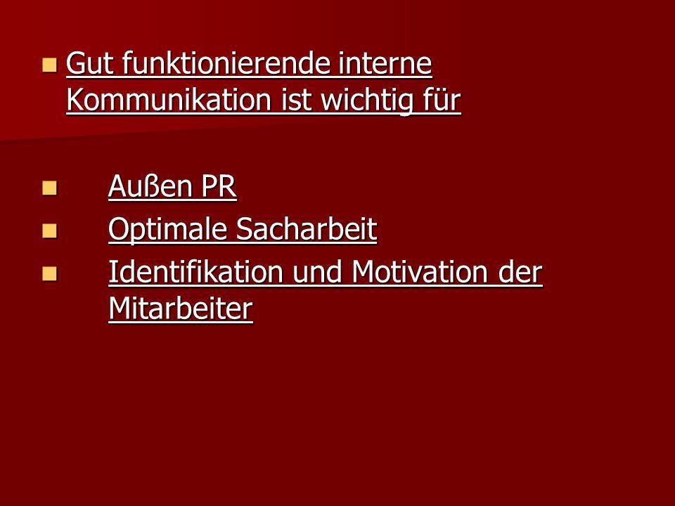 Gut funktionierende interne Kommunikation ist wichtig für