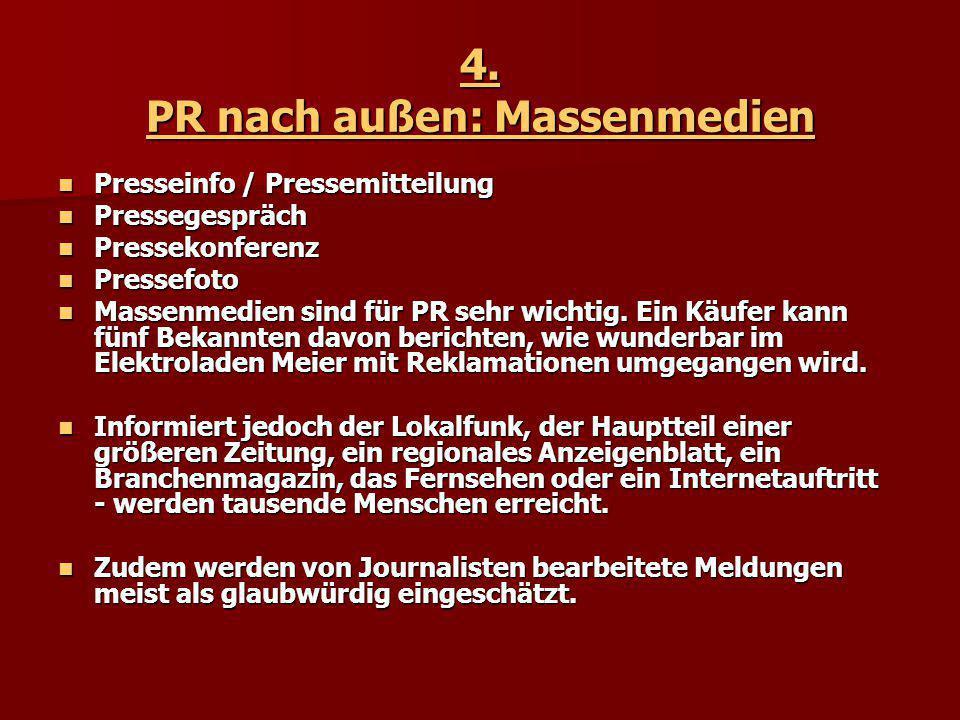 4. PR nach außen: Massenmedien