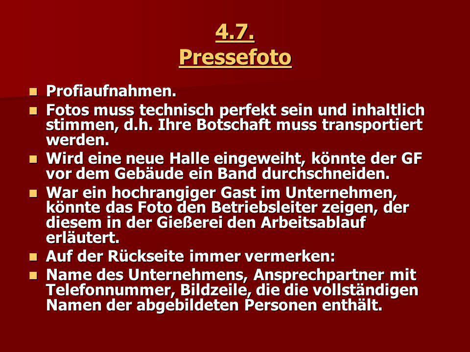 4.7. Pressefoto Profiaufnahmen.