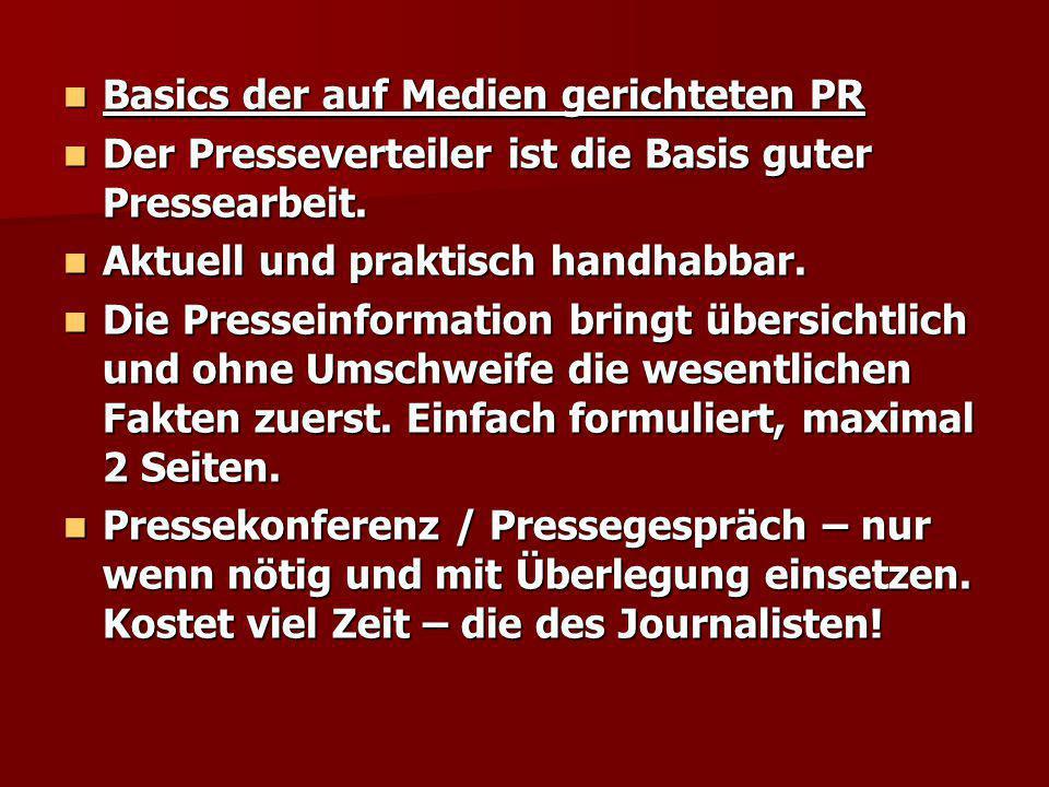 Basics der auf Medien gerichteten PR