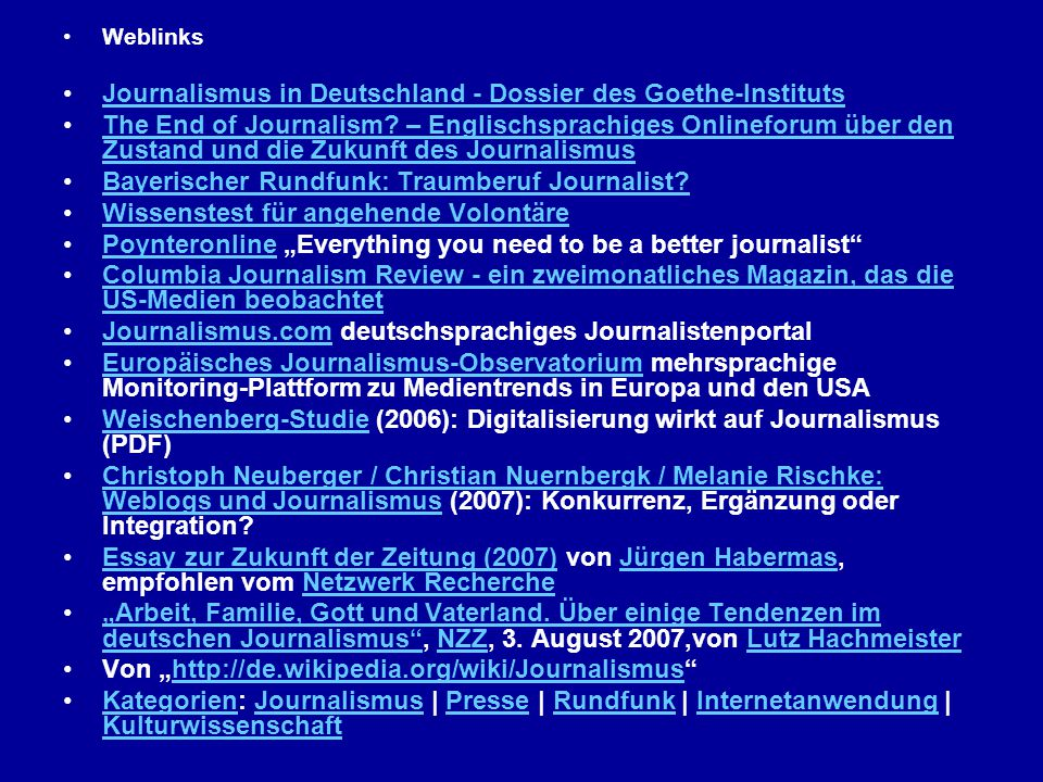 Journalismus in Deutschland - Dossier des Goethe-Instituts