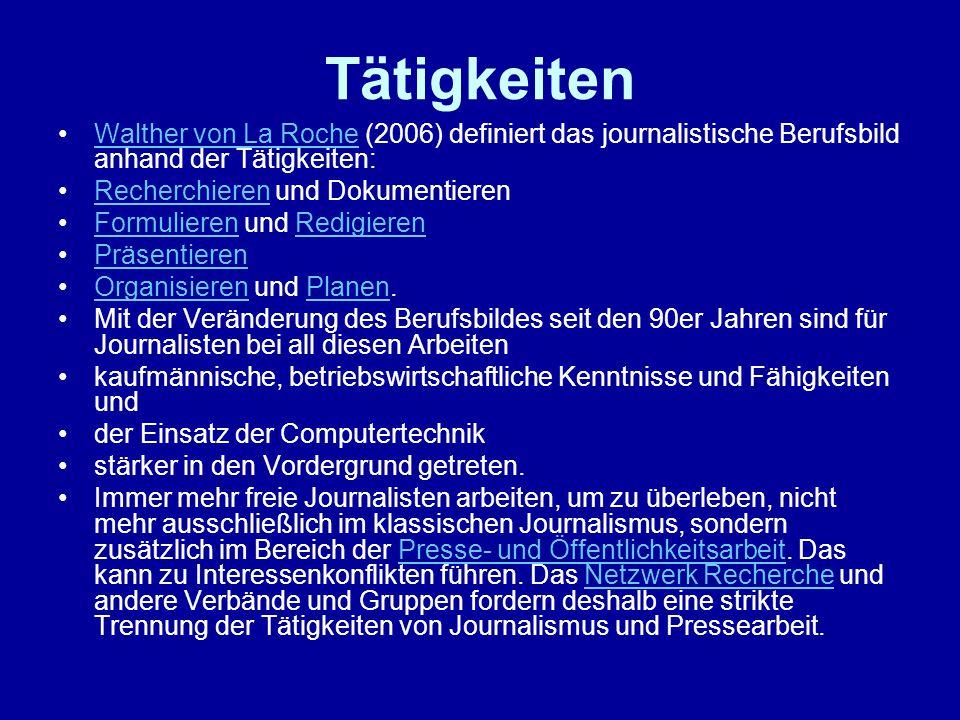 Tätigkeiten Walther von La Roche (2006) definiert das journalistische Berufsbild anhand der Tätigkeiten: