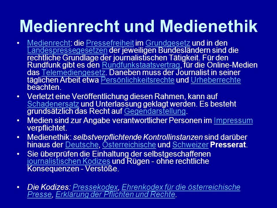 Medienrecht und Medienethik