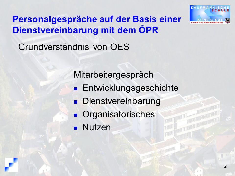 Personalgespräche auf der Basis einer Dienstvereinbarung mit dem ÖPR