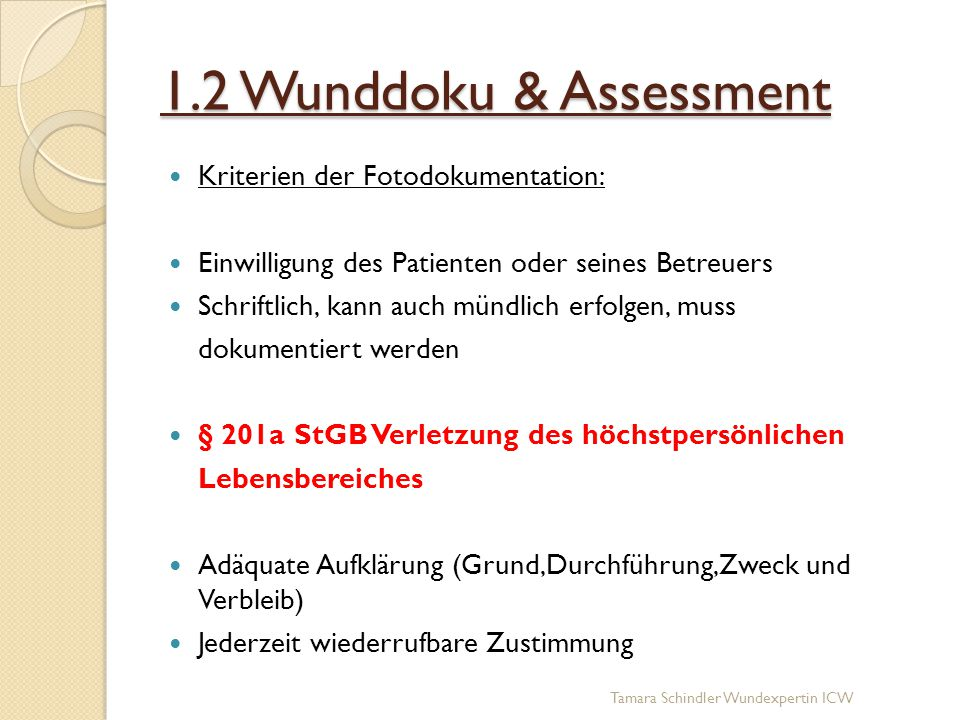 1.2 Wunddoku & Assessment Kriterien der Fotodokumentation: