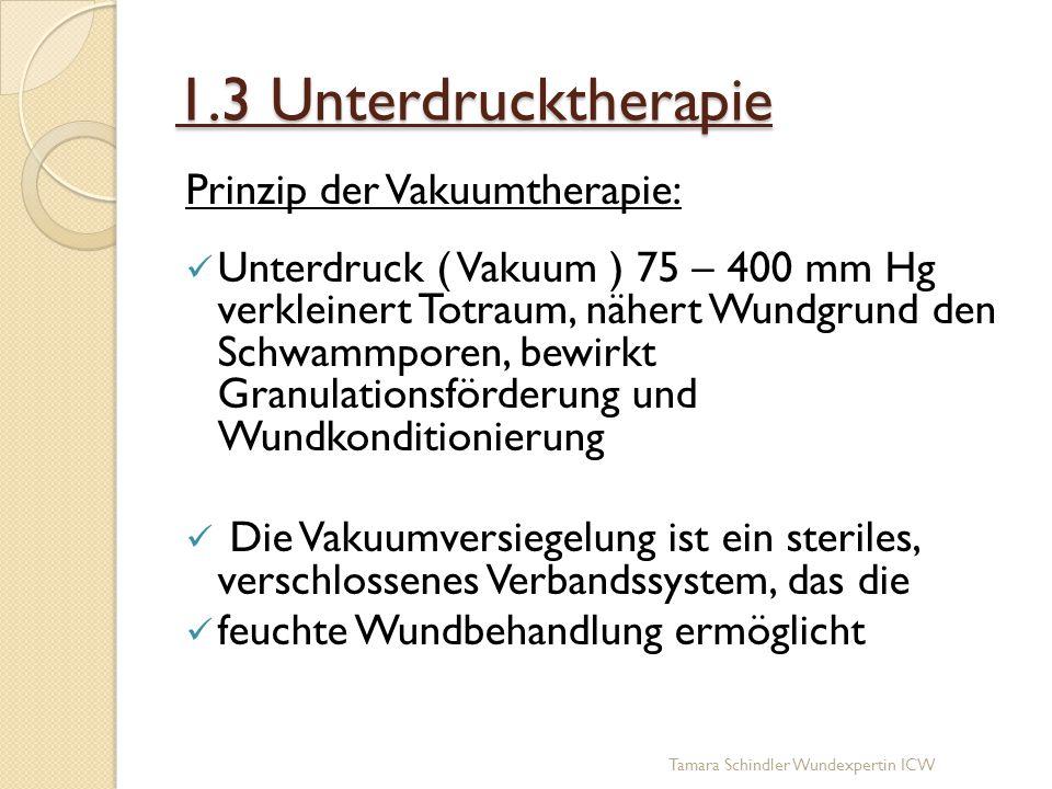 1.3 Unterdrucktherapie Prinzip der Vakuumtherapie: