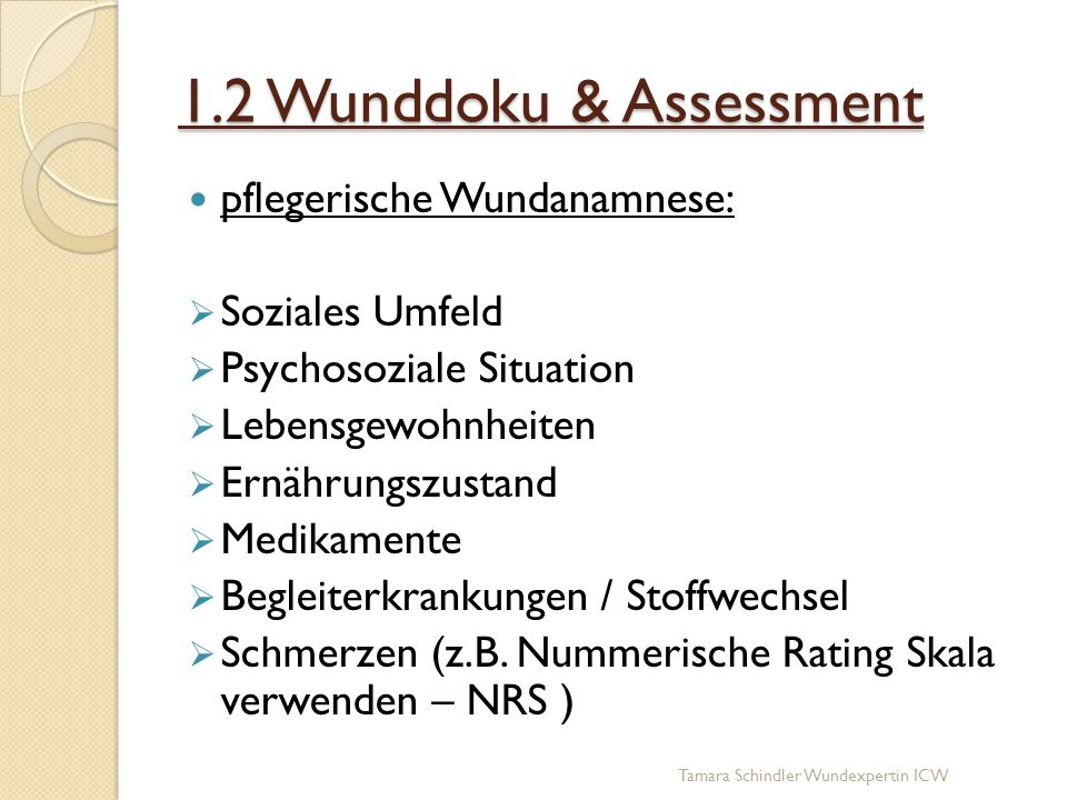 1.2 Wunddoku & Assessment pflegerische Wundanamnese: Soziales Umfeld