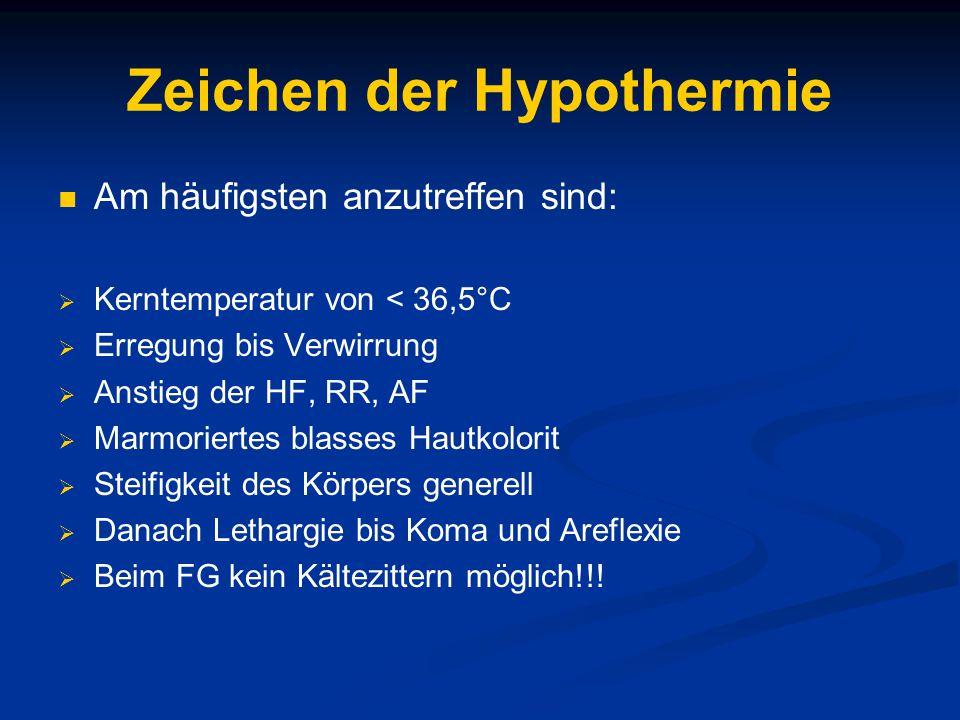Zeichen der Hypothermie