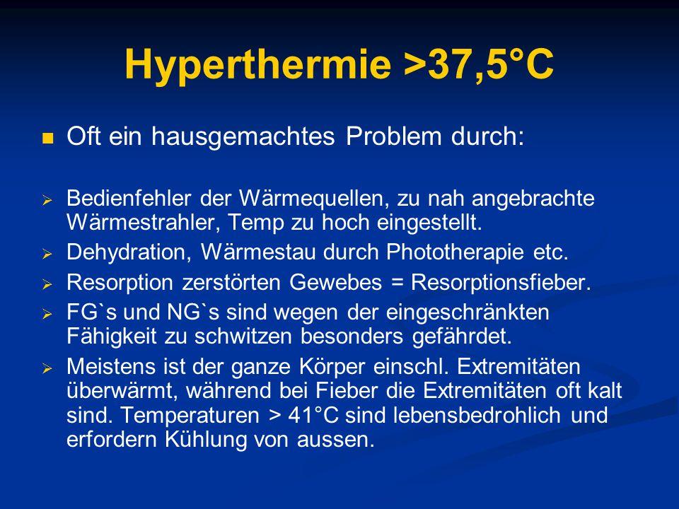 Hyperthermie >37,5°C Oft ein hausgemachtes Problem durch: