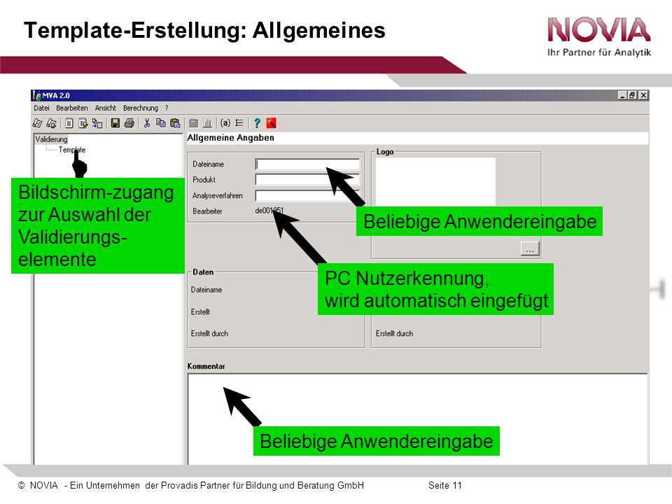 Template-Erstellung: Allgemeines