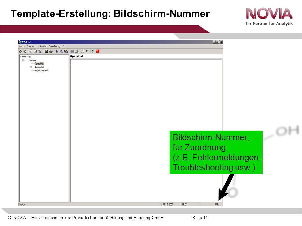 Template-Erstellung: Bildschirm-Nummer