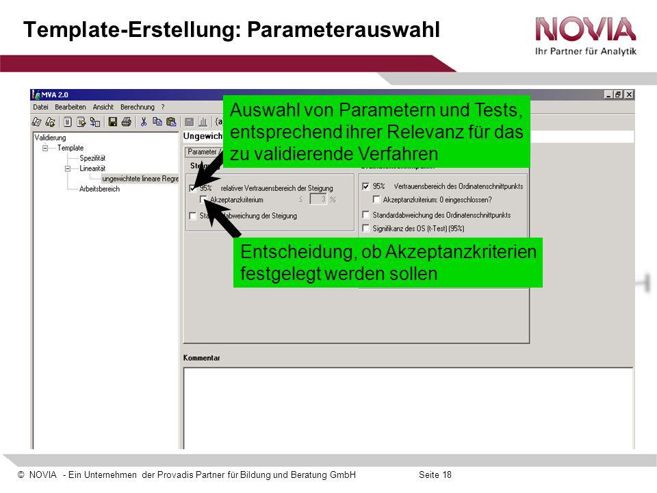 Template-Erstellung: Parameterauswahl