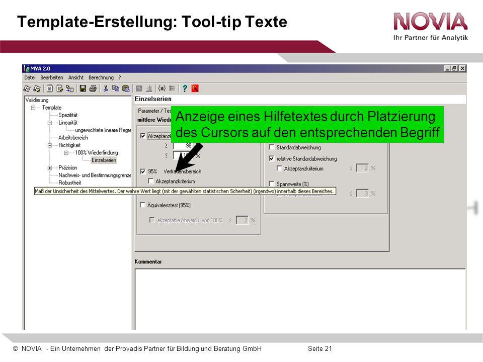 Template-Erstellung: Tool-tip Texte