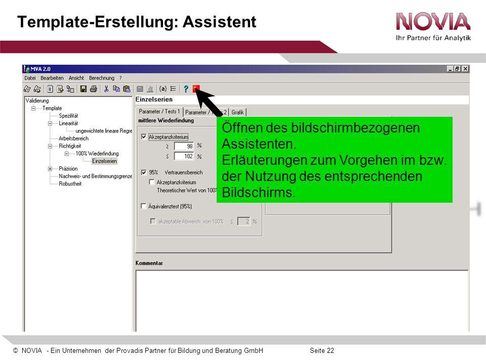Template-Erstellung: Assistent