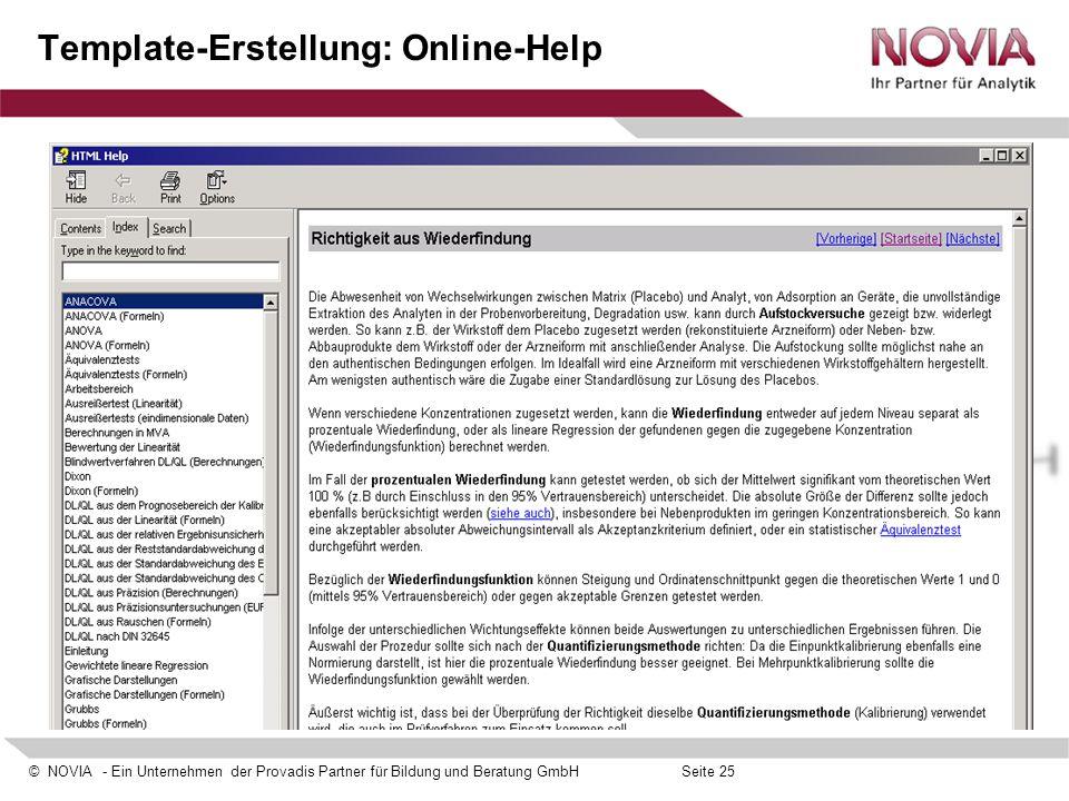 Template-Erstellung: Online-Help
