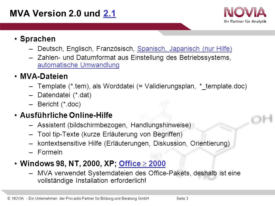 MVA Version 2.0 und 2.1 Sprachen MVA-Dateien Ausführliche Online-Hilfe