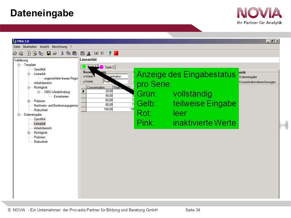 Dateneingabe Anzeige des Eingabestatus pro Serie: Grün: vollständig Gelb: teilweise Eingabe Rot: leer.