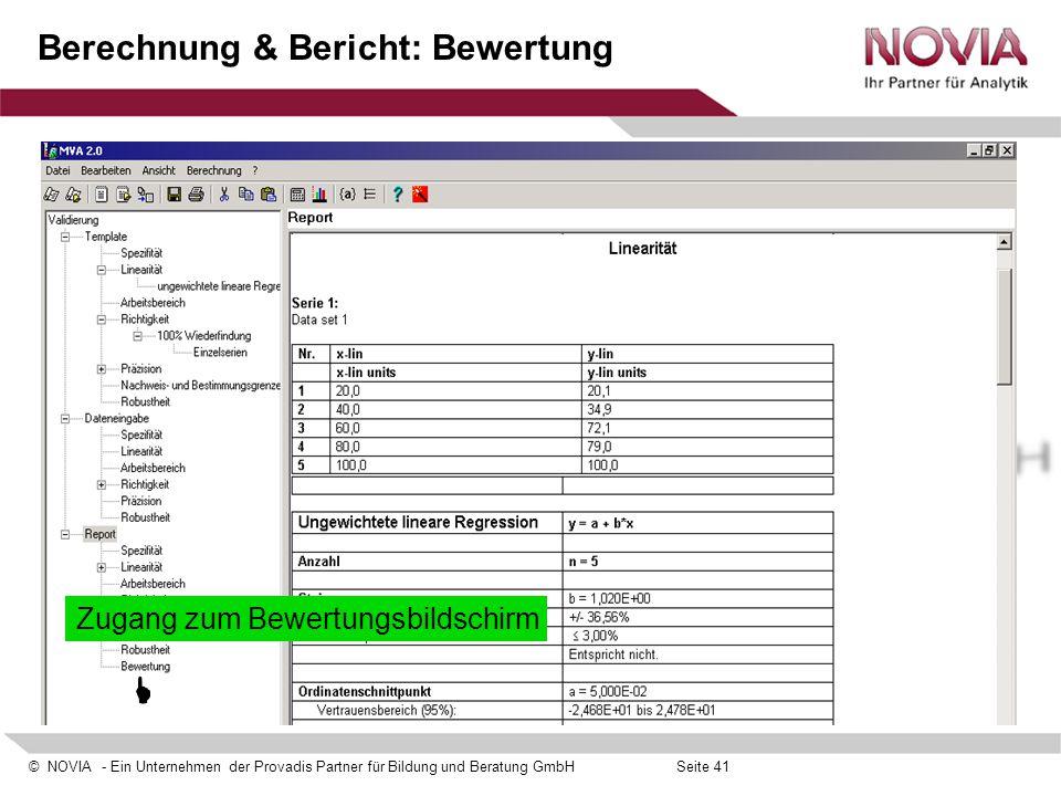 Berechnung & Bericht: Bewertung