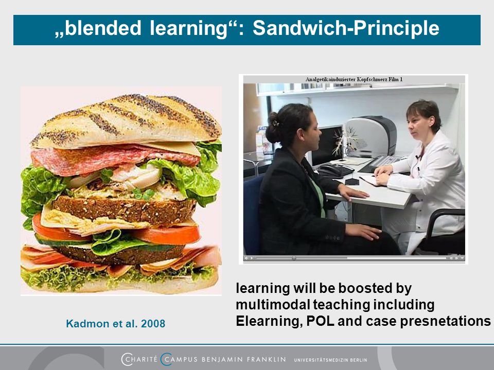 """blended learning : Sandwich-Principle"
