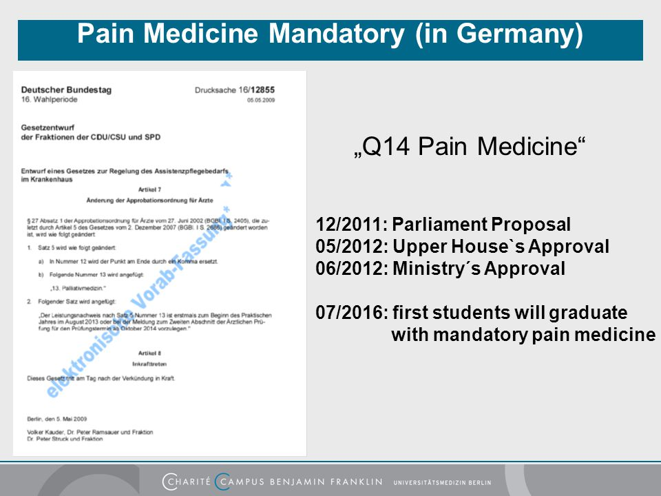 Pain Medicine Mandatory (in Germany)