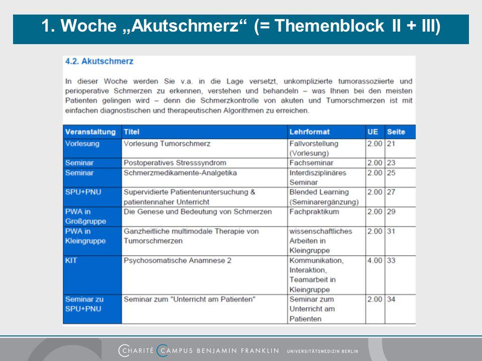 """1. Woche """"Akutschmerz (= Themenblock II + III)"""