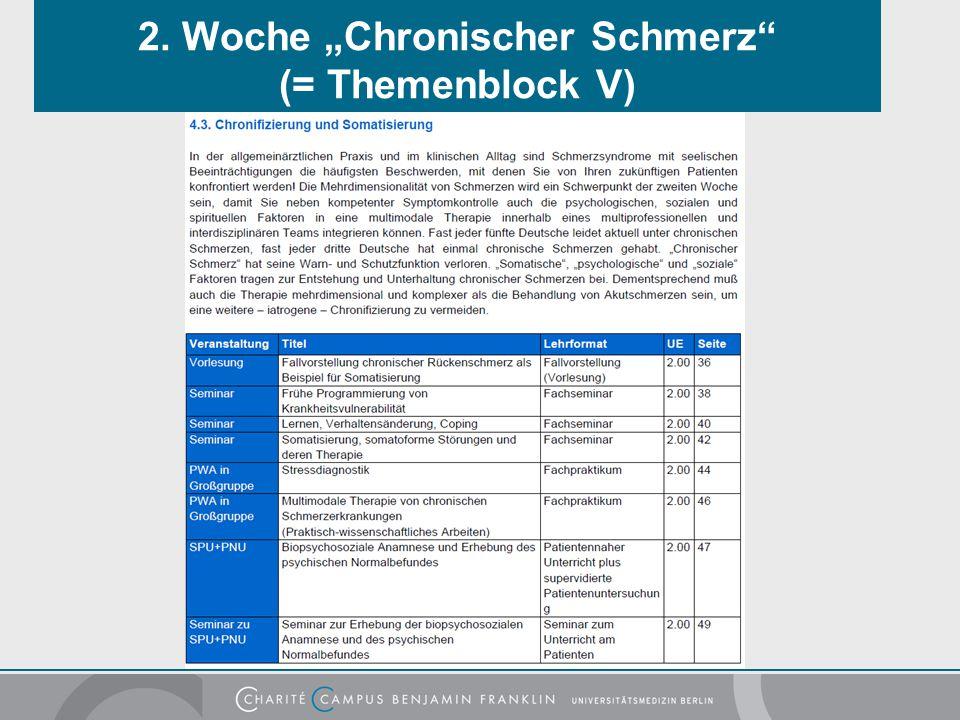 """2. Woche """"Chronischer Schmerz (= Themenblock V)"""