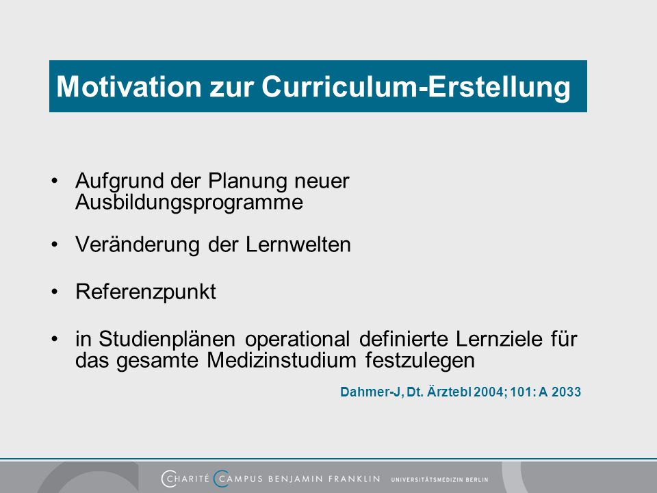 Motivation zur Curriculum-Erstellung