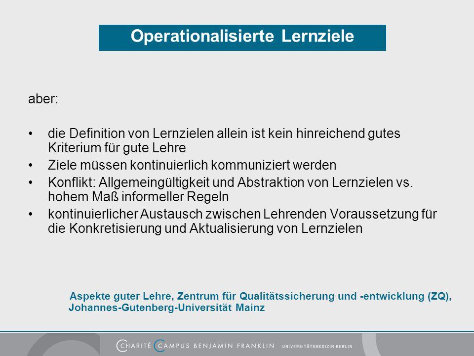 Operationalisierte Lernziele
