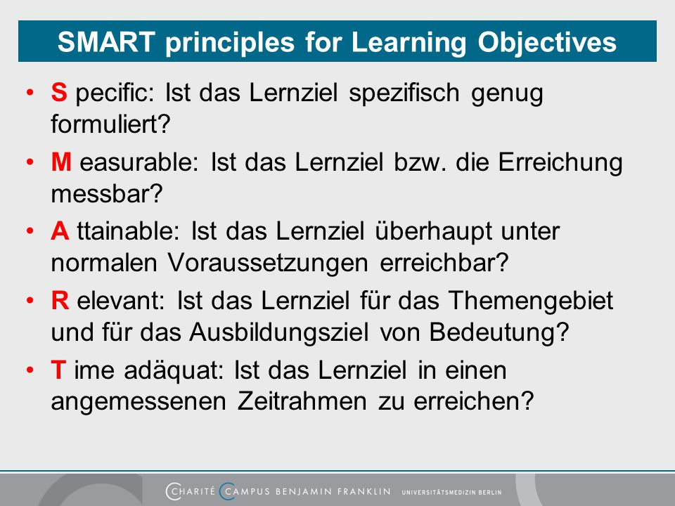 SMART principles for Learning Objectives