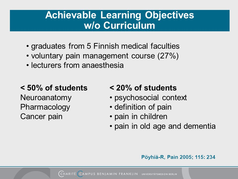 Achievable Learning Objectives w/o Curriculum