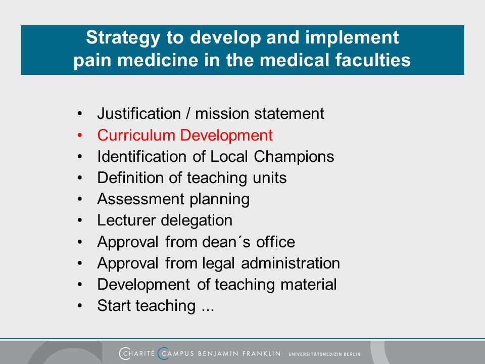 Strategy to develop and implement pain medicine in the medical faculties