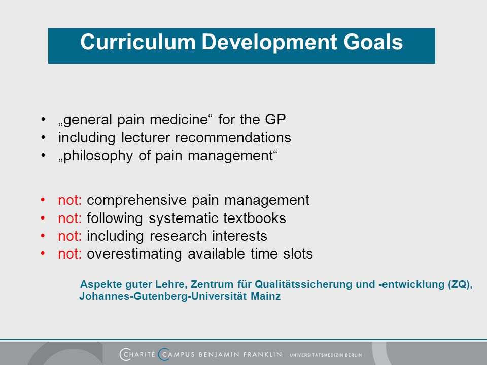 Curriculum Development Goals