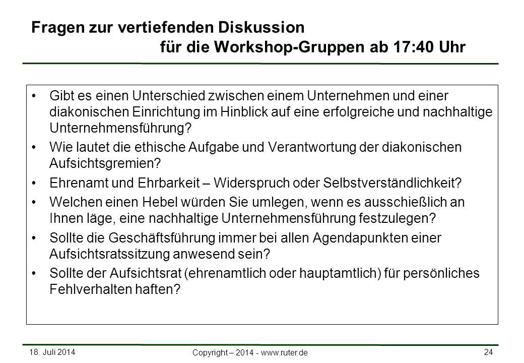 Fragen zur vertiefenden Diskussion für die Workshop-Gruppen ab 17:40 Uhr