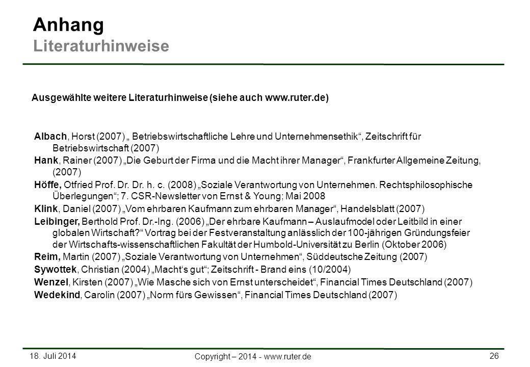 Ausgewählte weitere Literaturhinweise (siehe auch www.ruter.de)