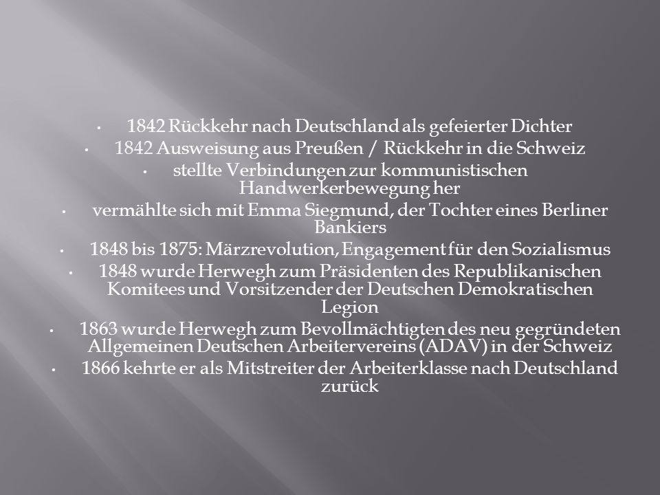 1842 Rückkehr nach Deutschland als gefeierter Dichter