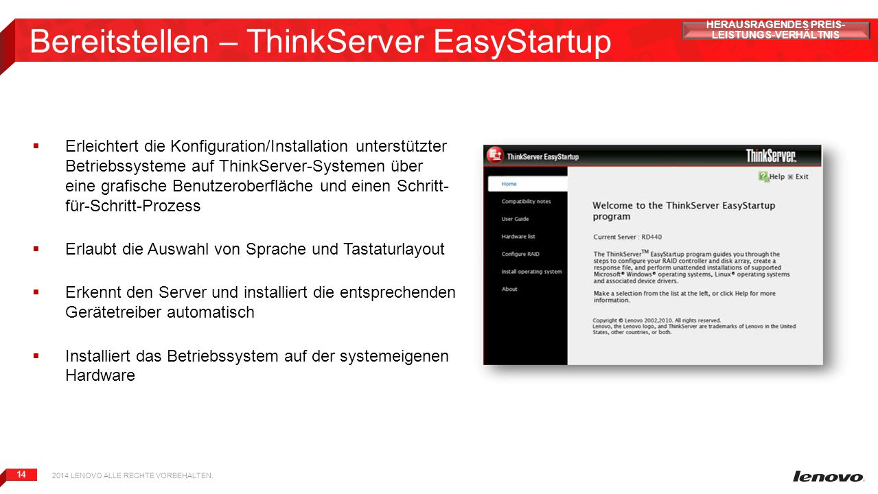 Bereitstellen – ThinkServer EasyStartup