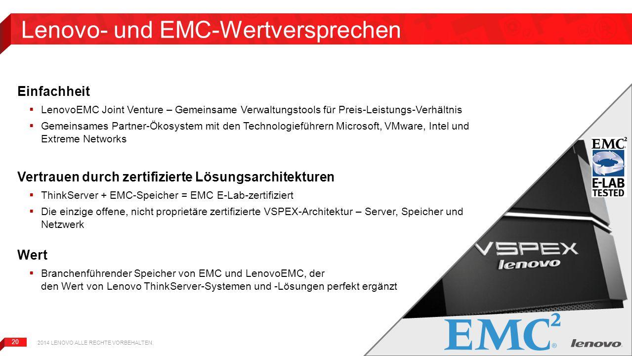 Lenovo- und EMC-Wertversprechen