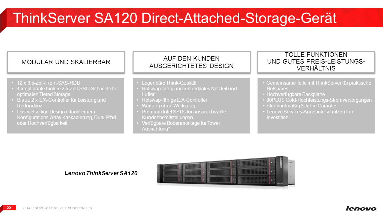 ThinkServer SA120 Direct-Attached-Storage-Gerät