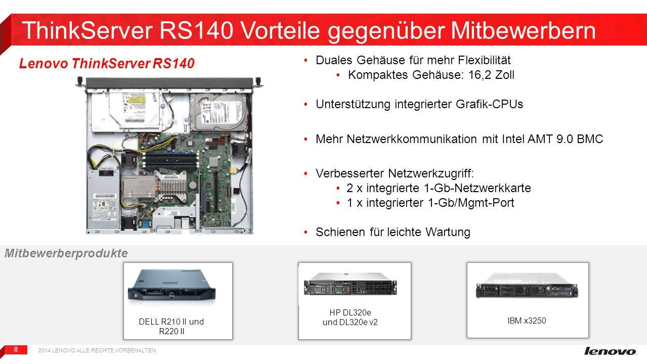 ThinkServer RS140 Vorteile gegenüber Mitbewerbern