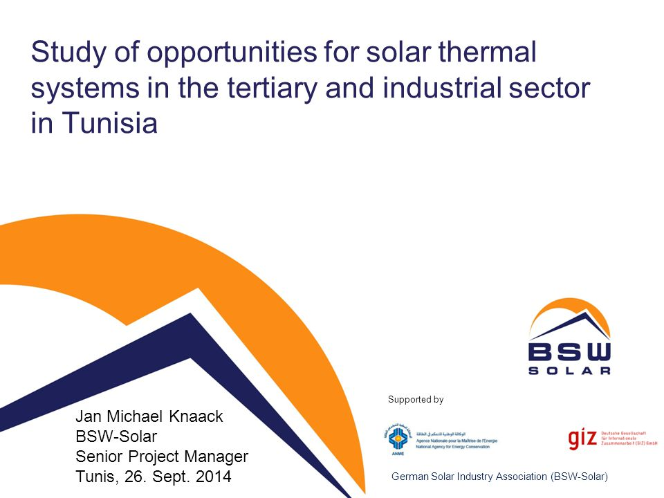 Study of opportunities for solar thermal systems in the tertiary and industrial sector in Tunisia